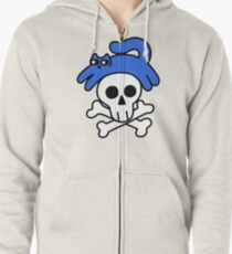 Cat And Skull And Crossbones Zipped Hoodie