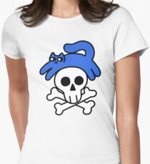 Cat And Skull And Crossbones Fitted T-Shirt