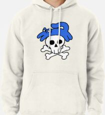 Cat And Skull And Crossbones Pullover Hoodie