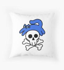 Cat And Skull And Crossbones Floor Pillow