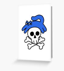 Cat And Skull And Crossbones Greeting Card