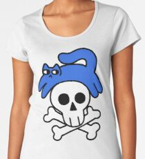 Cat And Skull And Crossbones Premium Scoop T-Shirt
