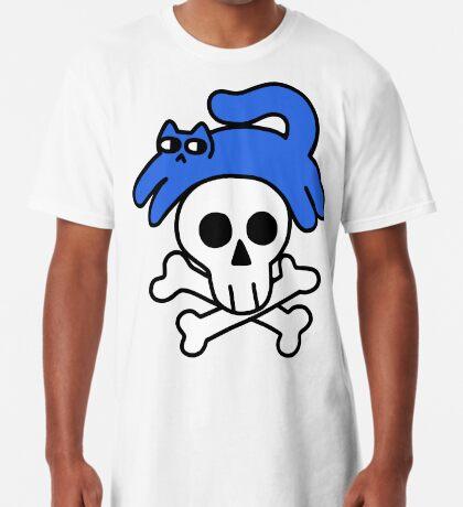 Cat And Skull And Crossbones Long T-Shirt