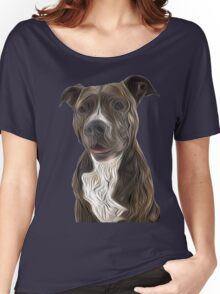 Pit Bull Terrier Oil Painting Style Women's Relaxed Fit T-Shirt