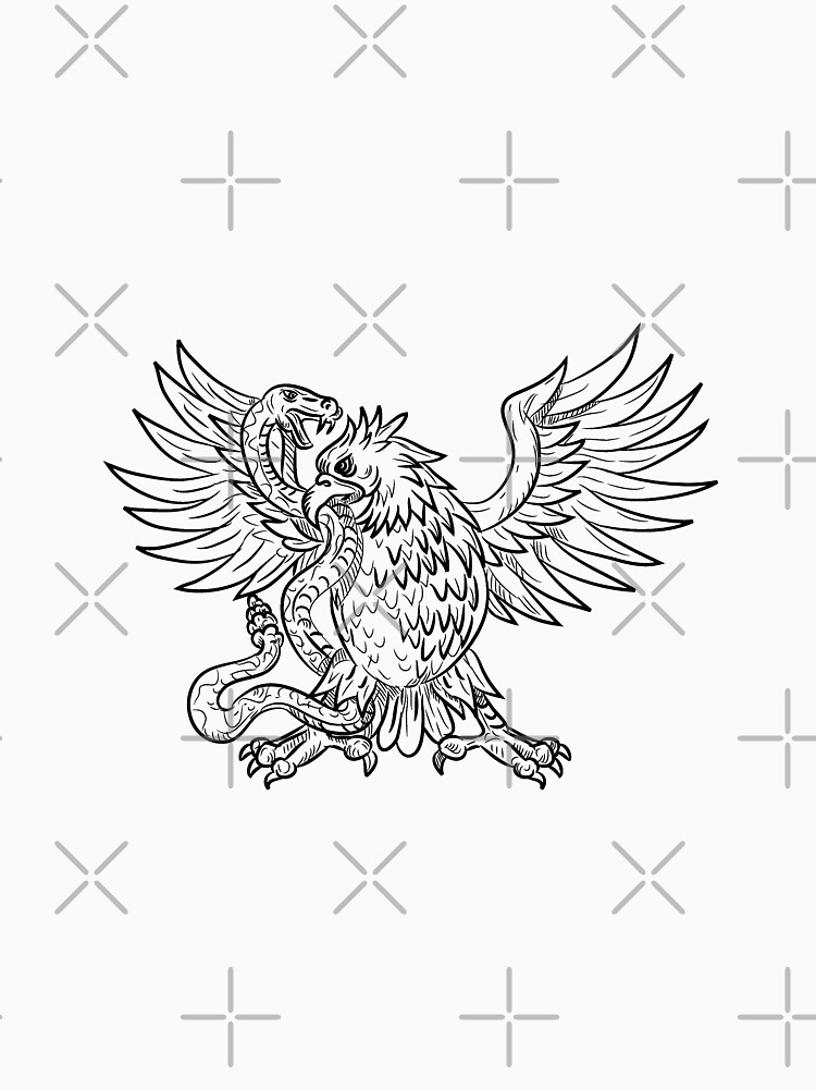 Mexican Eagle Fighting Rattlesnake Drawing Black and White by patrimonio