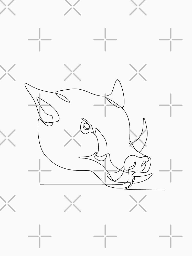Wild Pig Head Continuous Line by patrimonio
