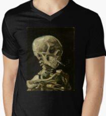 Vincent Van Gogh smoking skeleton Men's V-Neck T-Shirt