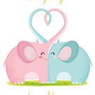 valentine's love hearted elephants by Angela Sbandelli