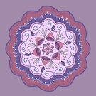 Lavendel lila kastanienbraun erröten rosa Blumenmandala mit Wellenschliff von Jenndoodles