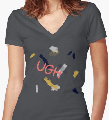 UGH Pattern #redbubble #pattern Fitted V-Neck T-Shirt