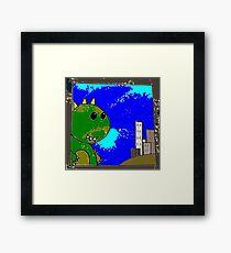 Giant lizard dino kawaii cartoon Framed Print