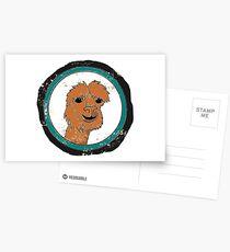 Happy llama kawaii cartoon illustration Postcards