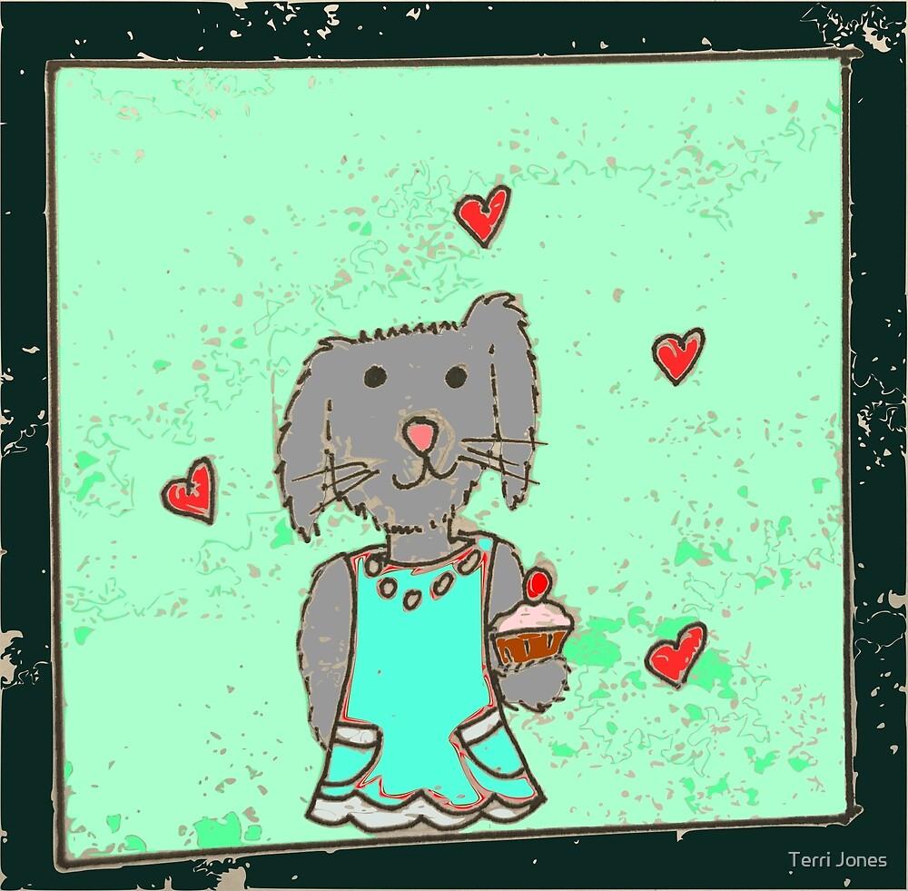 Cartoon cupcake bunny rabbit kawaii by Terri Jones