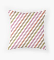 Pink Roses in Anzures 2 Stripes 1B Throw Pillow