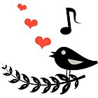 Bird singing love song. Music of hearts by ArashiChanun
