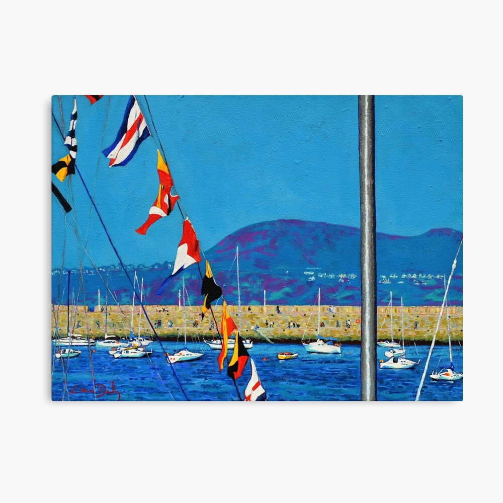Dún Laoghaire Harbour and Howth Head Canvas Print