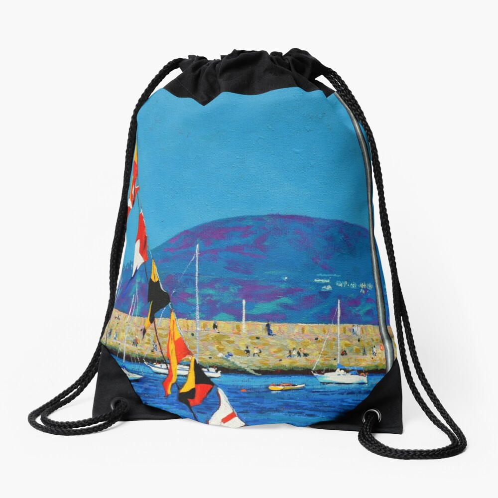Dún Laoghaire Harbour and Howth Head Drawstring Bag