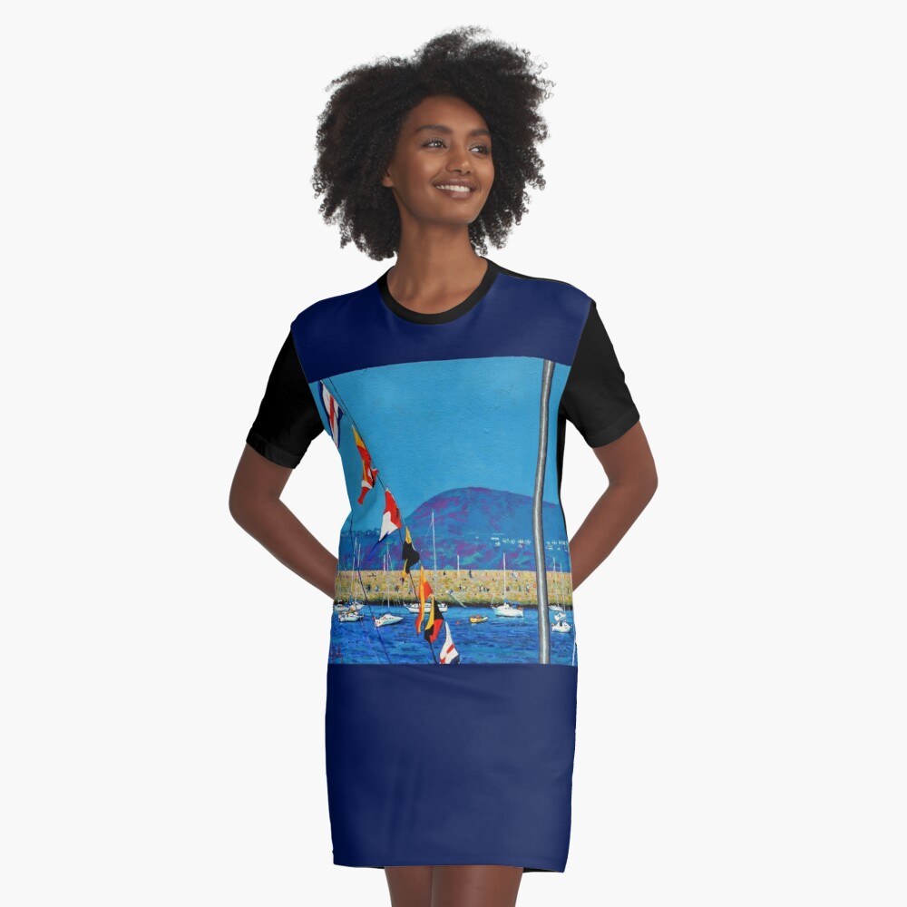 Dún Laoghaire Harbour and Howth Head Graphic T-Shirt Dress