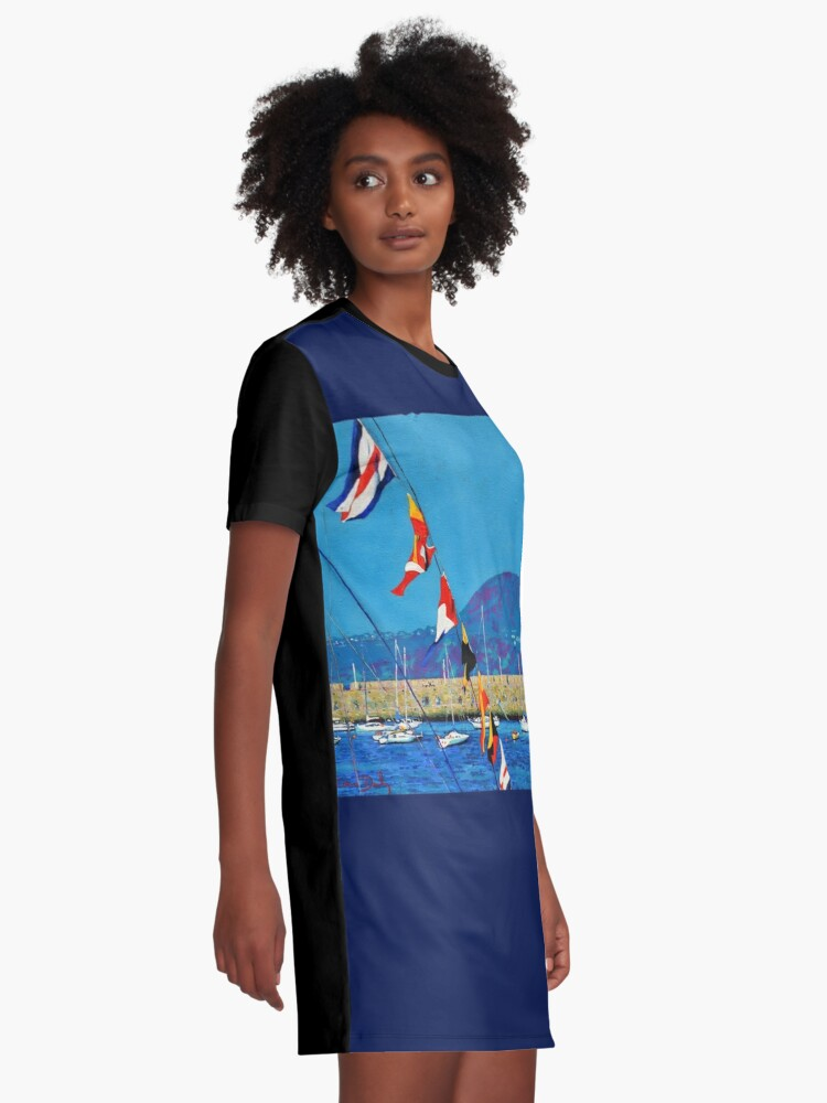 Alternate view of Dún Laoghaire Harbour and Howth Head Graphic T-Shirt Dress