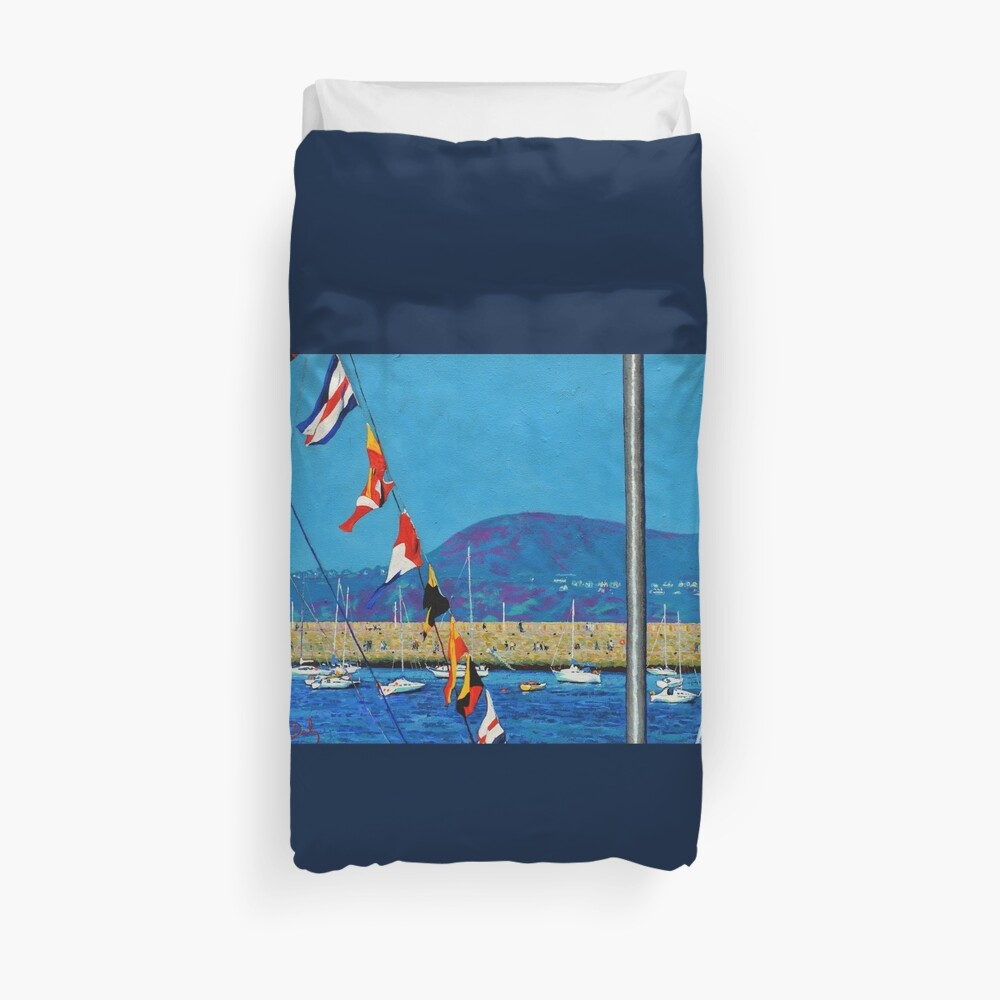 Dún Laoghaire Harbour and Howth Head Duvet Cover