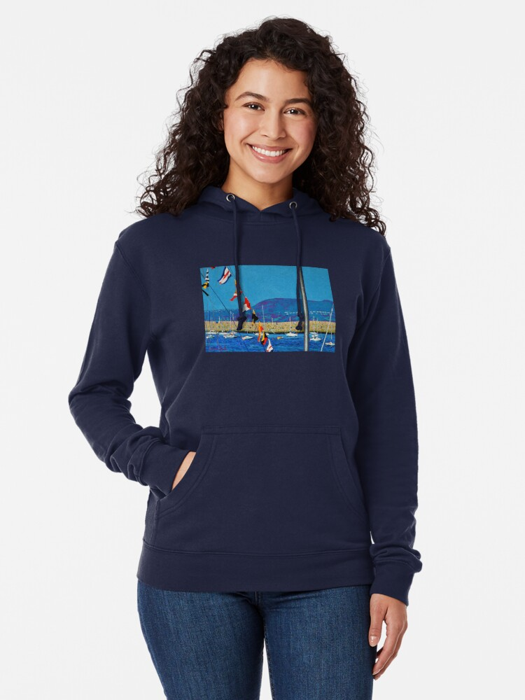 Alternate view of Dún Laoghaire Harbour and Howth Head Lightweight Hoodie