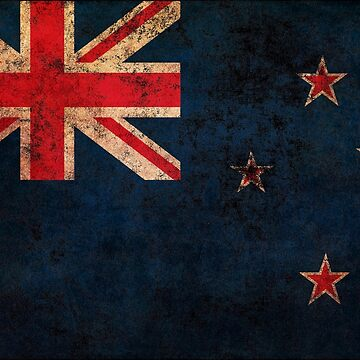 New Zealand Flag Old Weathered Distressed Worn Grunge Style by BennyBearProof
