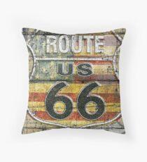 Route 66 vintage style illustration  Throw Pillow