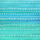 Aqua Boho Stripes Pattern by blueskywhimsy