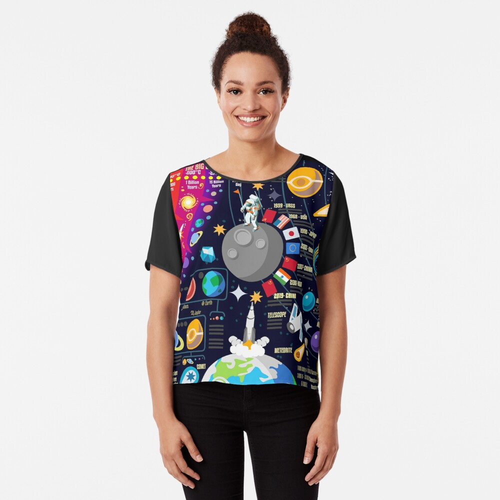 Space Universe Infographics Big Bang Chiffon Top