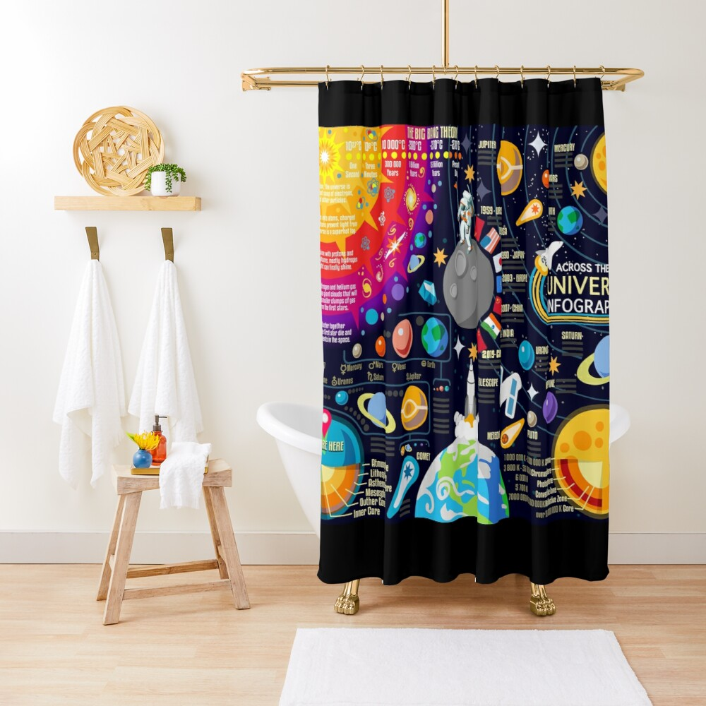 Space Universe Infographics Big Bang Shower Curtain