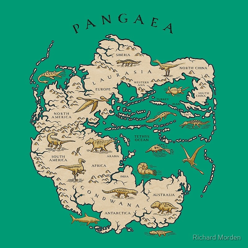 Map Of The Supercontinent Pangaea Drawstring Bags By Richard - Pangaea map