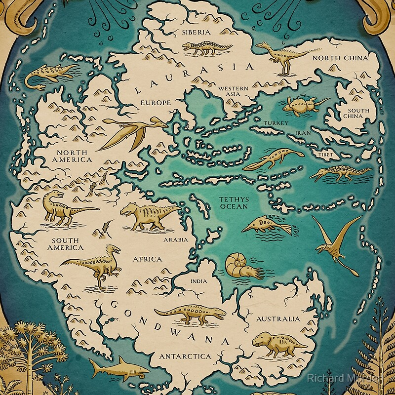 Map Of The Supercontinent Pangaea Scarves By Richard Morden - Pangaea map