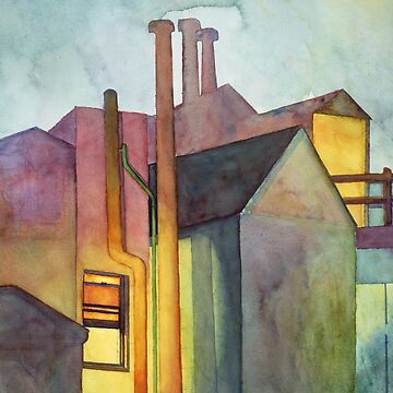 Rear Window Watercolor Night Scene by Zehda