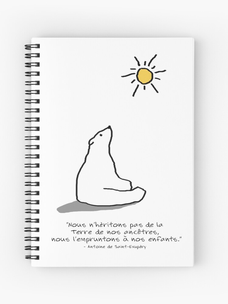 Polar Bear Ours Polaire Citation French Doodle Spiral Notebook