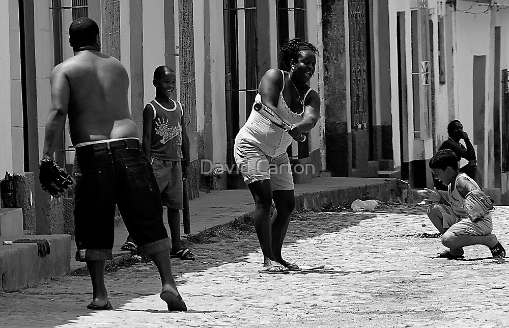 Baseball in the street, Trinidad, Cuba by David Carton