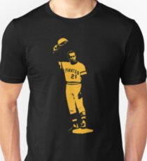 Roberto Clemente - Arriba - Yellow Stencil Slim Fit T-Shirt