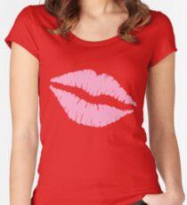 Pink Kiss Tailliertes Rundhals-Shirt