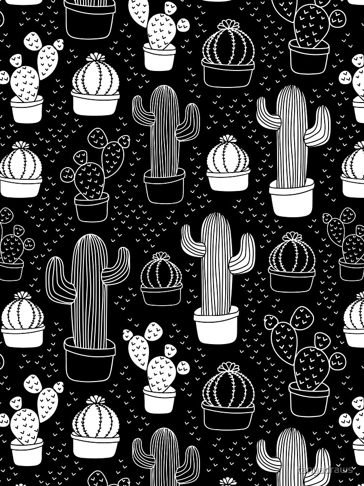 Black & White Cactus Doodle Pattern by tanyadraws