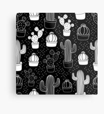 Black & White Cactus Doodle Pattern Metal Print