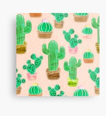 Potted Cactus & Pink Drawing Metal Print