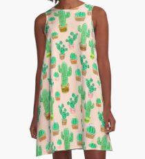 Potted Cactus & Pink Drawing A-Line Dress