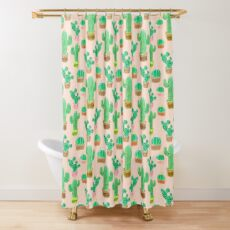 Potted Cactus & Pink Drawing Shower Curtain