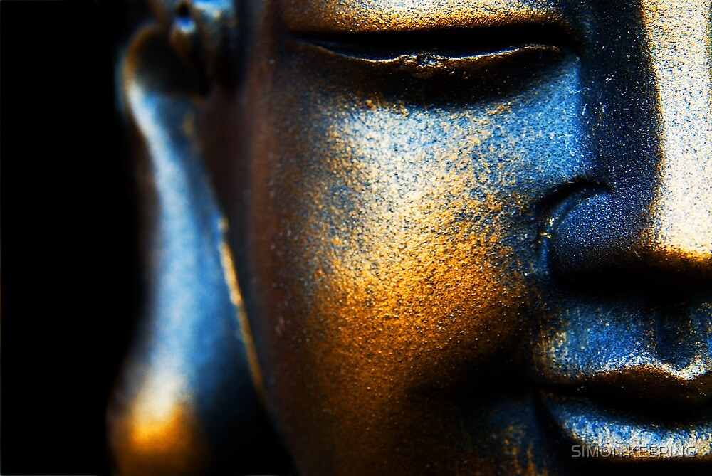 BLUE AND GOLD BUDDHA by SIMON KEEPING