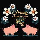 Year of the Pig, Chinese New Year 2019 Floral Decorative design, pink and gold with two pigs Gong hei fat choy by Angie Stimson