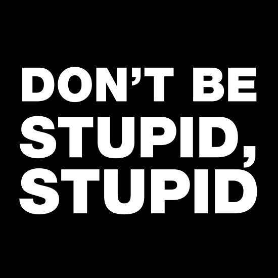 "Don't Be Stupid Stupid funny sayings and quotes"" Poster by ..."