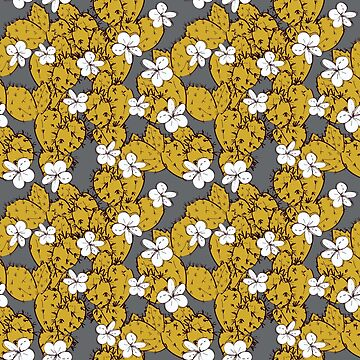 cactus with flowers sketch golden mustard, black contour on Gray background. simple ornament by EkaterinaP