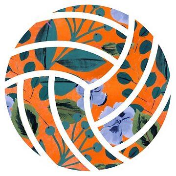 voleibol floral naranja de sluggishsloth