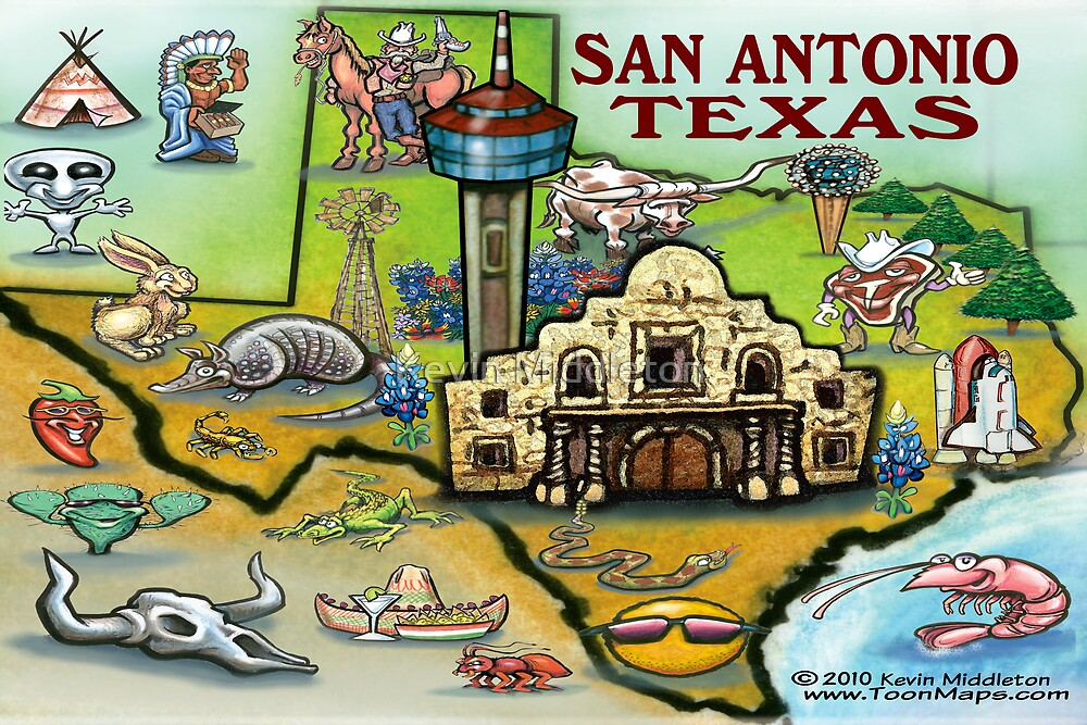 Quot San Antonio Texas Map Quot By Kevin Middleton Redbubble