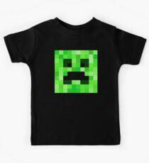 Camiseta para niños Patrón de la cara del pixel. Se adapta a Minecraft Creeper Game Lovers. Diseño del ventilador