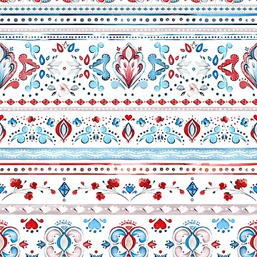 Watercolor Native Floral Pattern Red Blue by junkydotcom